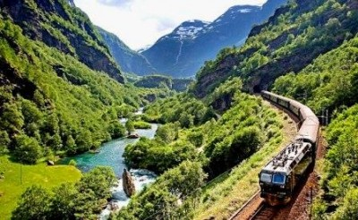 Train Going Through the Mountains